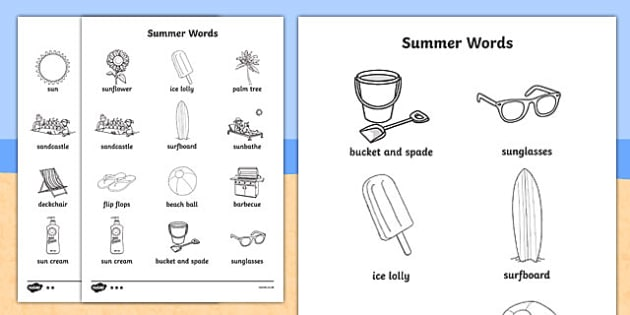 Summer Differentiated Words Colouring Sheet - seasons, colour