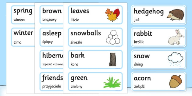 A Little Bit of Winter Vocabulary Polish Translation - polish, a little bit, winter, season, vocabulary