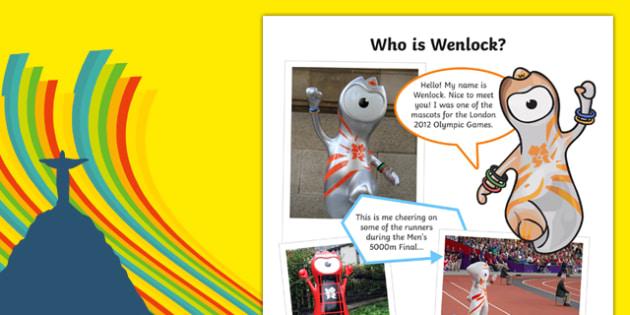The Olympics   Wenlock the London 2012 Mascot Information Sheet-Scottish