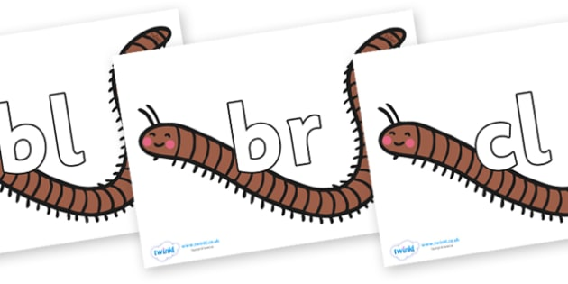 Initial Letter Blends on Millipedes - Initial Letters, initial letter, letter blend, letter blends, consonant, consonants, digraph, trigraph, literacy, alphabet, letters, foundation stage literacy