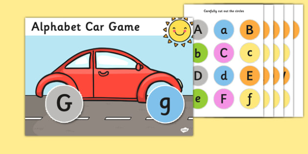 Upper and Lowercase Letter Matching Activity Car - activity, car