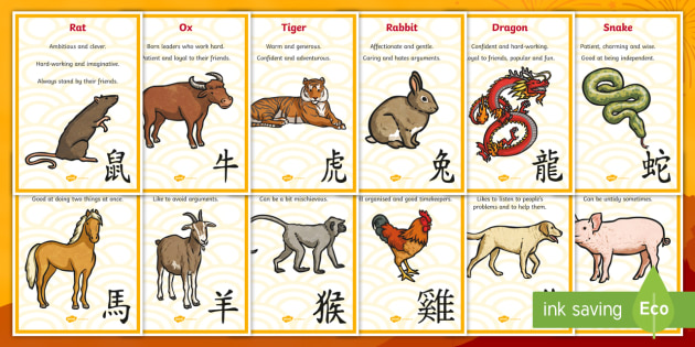 Free Chinese New Year Animals Characteristics Twinkl
