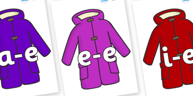 Modifying E Letters on Coats - Modifying E, letters, modify, Phase 5, Phase five, alternative spellings for phonemes, DfES letters and Sounds