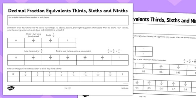 Year 6 Decimal Equivalents Thirds Sixths and Ninths Activity Sheet - Key Stage 2, KS2, Maths, Decimals, worksheet