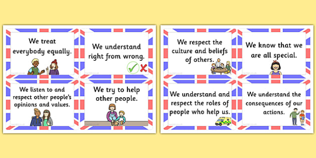 T T 18798 British Value Cards on What Is Respect Definition For Kids Preschool Worksheet
