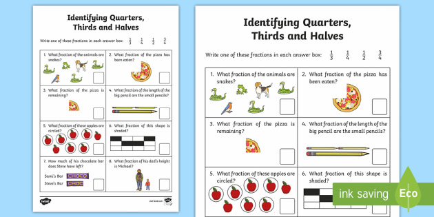 Identifying Quarters, Thirds and Halves Activity Sheet - quarters, halves, thirds, worksheet, fractions