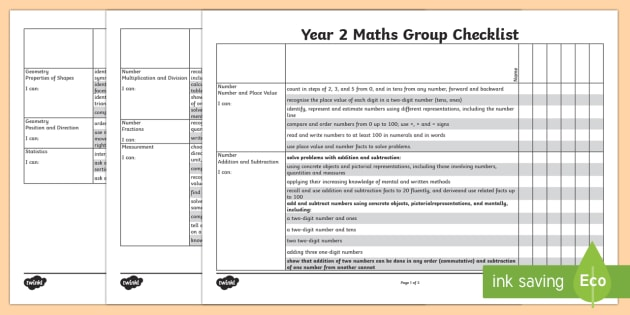 2014 Curriculum Year 2 Maths Assessment Group Checklist - numeracy