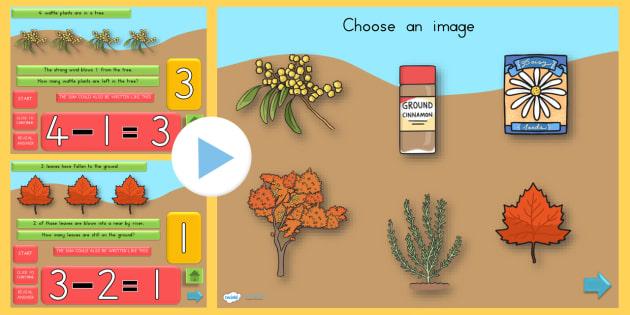 Autumn Themed Subtraction PowerPoint - subtract, seasons, weather