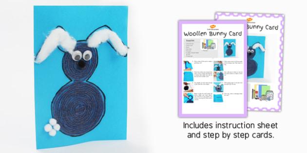 Woollen Bunny Card Craft Instructions - woollen, bunny, craft