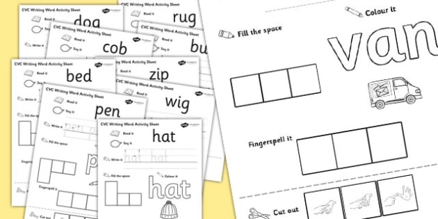 CVC Writing Word Worksheet / Activity Sheet Pack with British Sign Language, worksheet