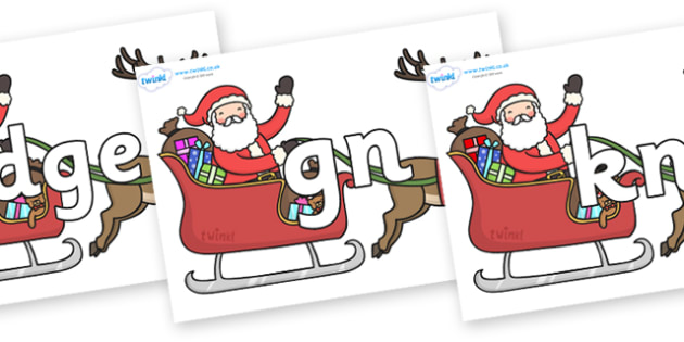 Silent Letters on Santa in Sleigh - Silent Letters, silent letter, letter blend, consonant, consonants, digraph, trigraph, A-Z letters, literacy, alphabet, letters, alternative sounds
