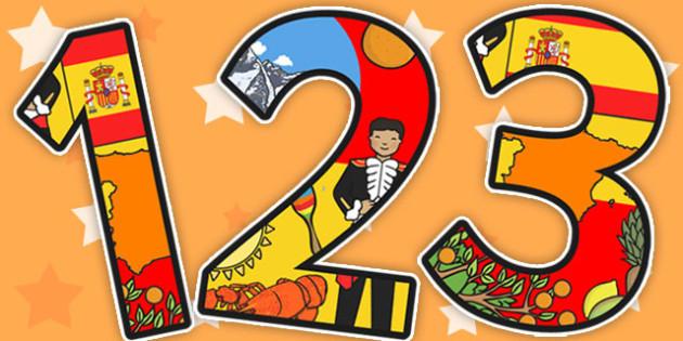 Spanish Themed Display Numbers - Spanish, Numbers, Display