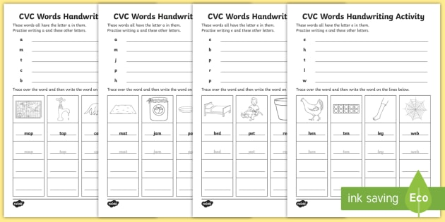 CVC Words Handwriting Worksheets - cvc words, handwriting ...