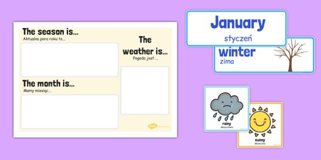 Month Weather and Season Calendar Polish Translation - polish, month, weather, season, calendar
