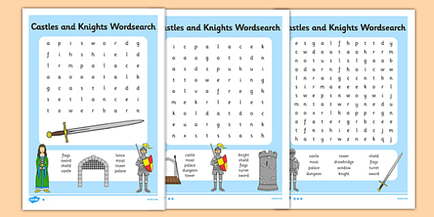 Castles and Knights Differentiated Wordsearch - castle, knight