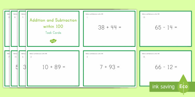 Second Grade Addition and Subtraction Within 100 Task Cards - Common Core Second Grade Math Task Card, addition, add 100, subtract 100, number bonds, concrete mat