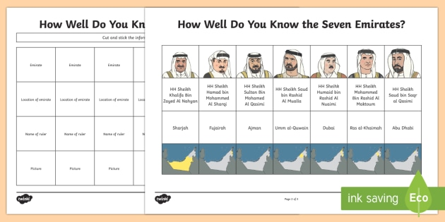 how well do you know the seven emirates worksheet activity sheet. Black Bedroom Furniture Sets. Home Design Ideas