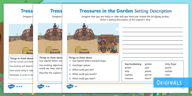 Treasures In The Garden Pirate Setting Description Differentiated Worksheet  / Activity Sheets   Setting, Describe