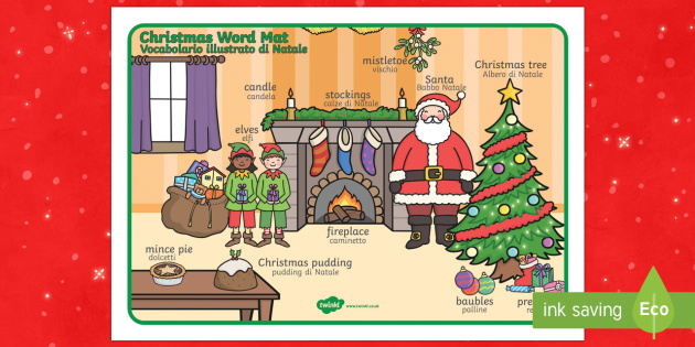 Christmas Scene Word Mat English/Italian - Christmas Scene Word Mat - chrisrmas, vocabulary mat, word mat, key words, topic words, word poster,