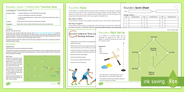 Rounders 1: Fielding Skills Lesson Ideas - rounders