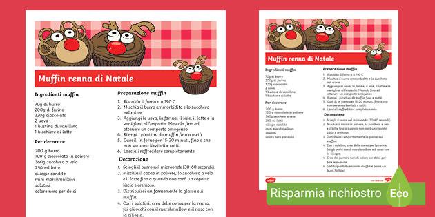 Ricetta Muffin X 6.Free Ricetta Muffin Renna Di Natale Teacher Made