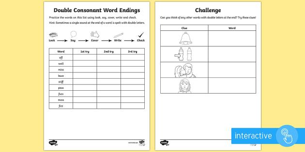 year 1 spelling practice double consonant word endings worksheet ks1. Black Bedroom Furniture Sets. Home Design Ideas