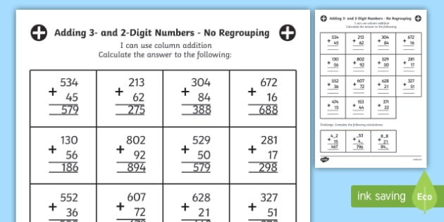 FREE! - Year 3 Adding 3 and 2-Digit Numbers in a Column with ...