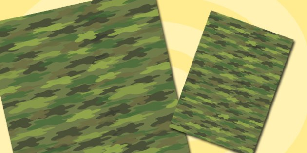 Green Camouflage Themed A4 Sheet - camouflage, themed, a4, sheet