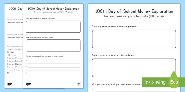 100th Day Of School Money Exploration Worksheet Activity Sheet