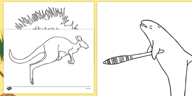 The Kangaroo and the Porpoise Colouring Sheets - australia, the kangaroo and the porpoise, aboriginal, dreamtime, story, tale, colouring sheets
