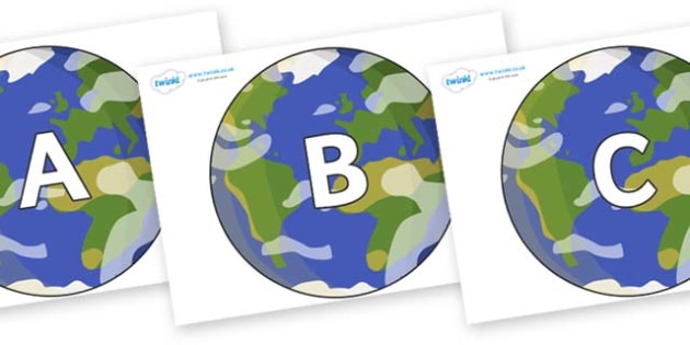 A-Z Alphabet on Planet Earth - A-Z, A4, display, Alphabet frieze, Display letters, Letter posters, A-Z letters, Alphabet flashcards