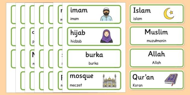Islam Word Cards Polish Translation - polish, islam, word cards, word, cards