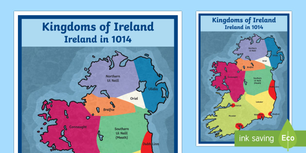 The Kingdoms of Ireland and Viking Settlements Display Poster