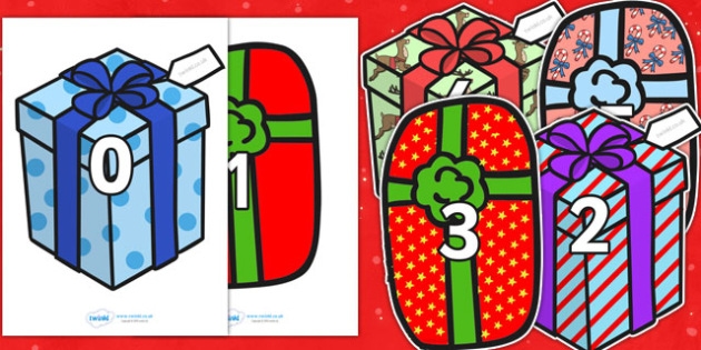 Numbers 0-30 on Christmas Presents - numeracy, numbers, counting, numbers to 30, Christmas, xmas, present, presents, advent, nativity, santa, father christmas, Jesus, tree, stocking, present, activity, cracker, angel, snowman, advent , bauble, Founda