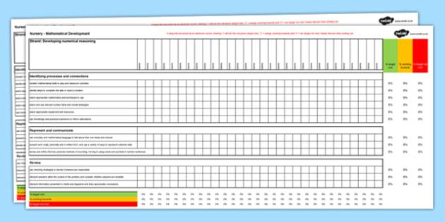 Grid AsesuDatblygiad MathemategolY Cyfnod Sylfaen ar gyfer Y Derbyn - Welsh, Wales, maths, nursery