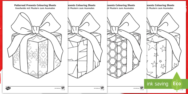 Patterned Presents Colouring Pages English German