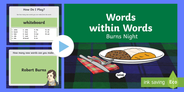 Words within Words Game Burns Night PowerPoint - KS1/KS2 EAL Words in Words, countdown, word games, vocabulary, spelling, phonics, reading, scotland,