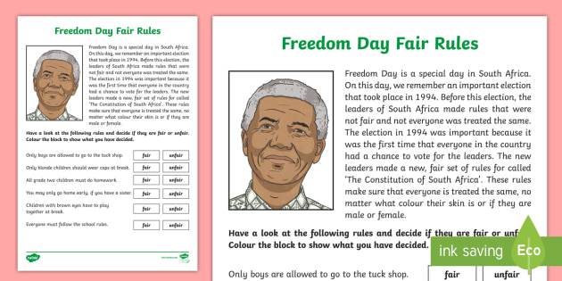 freedom day fair rules worksheet activity sheet south. Black Bedroom Furniture Sets. Home Design Ideas