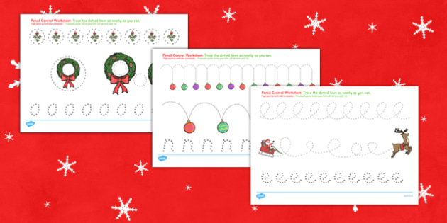 Christmas Pencil Control Worksheets Romanian Translation - romanian, christmas, pencil control, worksheets