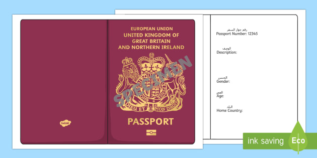 British Passport Template ArabicEnglish  Passport Design