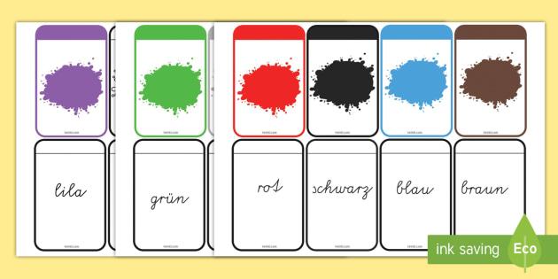 Farben Memory Karten - Farben Wort-und Bilderkarten Memory