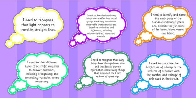 2014 Curriculum Year 6 Science Assessment I Need to Thought Bubble