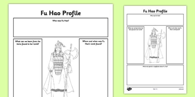 Fu Hao Profile Activity Sheet - fu hao, lady fu hao, profile, activity sheet, worksheet