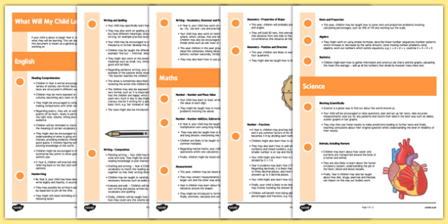What Will My Child Learn in Year 6? Information Sheets - Transition Activities