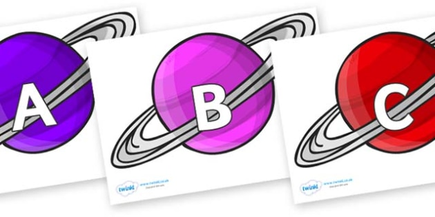 A-Z Alphabet on Planets - A-Z, A4, display, Alphabet frieze, Display letters, Letter posters, A-Z letters, Alphabet flashcards