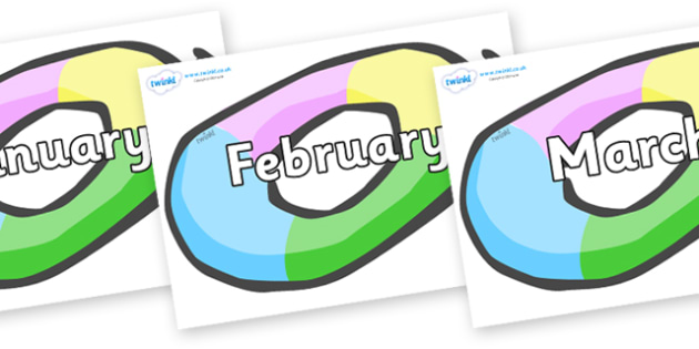 Months of the Year on Inflatable Rings - Months of the Year, Months poster, Months display, display, poster, frieze, Months, month, January, February, March, April, May, June, July, August, September