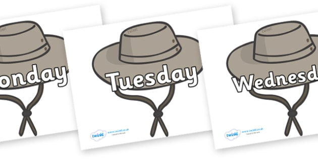 Days of the Week on Cowboy Hats - Days of the Week, Weeks poster, week, display, poster, frieze, Days, Day, Monday, Tuesday, Wednesday, Thursday, Friday, Saturday, Sunday