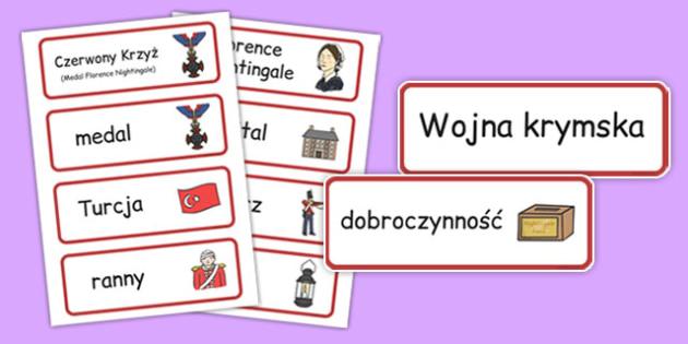 Karty ze słownictwem Florence Nightingale po polsku - znane osoby