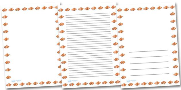 clown fish portrait page borders under the sea portrait page
