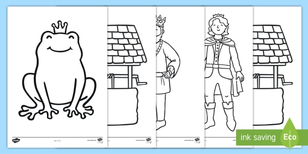 The Frog Prince Colouring Sheets - Frog, princess, prince, evil fairy, splash, kiss, well, king, colouring, fine motor skills, poster, worksheet, vines, A4, display,  bed, sleep, golden ball, beautiful, fell, plate, palace, traditional tale, story, b